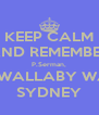 KEEP CALM AND REMEMBER P.Serman, 42 WALLABY WAY, SYDNEY - Personalised Poster A4 size