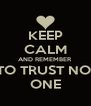 KEEP CALM AND REMEMBER TO TRUST NO  ONE - Personalised Poster A4 size