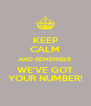 KEEP CALM AND REMEMBER WE'VE GOT YOUR NUMBER! - Personalised Poster A4 size