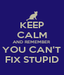 KEEP CALM AND REMEMBER YOU CAN'T FIX STUPID - Personalised Poster A4 size