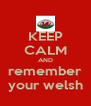 KEEP CALM AND remember your welsh - Personalised Poster A4 size