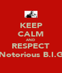 KEEP CALM AND RESPECT Notorious B.I.G - Personalised Poster A4 size