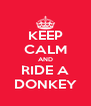KEEP CALM AND RIDE A DONKEY - Personalised Poster A4 size