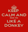 KEEP  CALM AND RIDE ME LIKE A DONKEY - Personalised Poster A4 size
