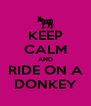 KEEP CALM AND RIDE ON A DONKEY - Personalised Poster A4 size