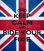 KEEP CALM AND RIDE YOUR FIXIE - Personalised Poster A4 size