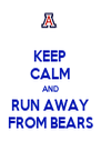 KEEP CALM AND RUN AWAY FROM BEARS - Personalised Poster A4 size