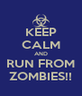 KEEP CALM AND RUN FROM ZOMBIES!! - Personalised Poster A4 size