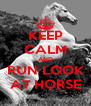 KEEP CALM AND RUN LOOK AT HORSE - Personalised Poster A4 size
