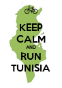 KEEP CALM AND RUN TUNISIA - Personalised Poster A4 size