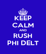KEEP CALM AND RUSH PHI DELT - Personalised Poster A4 size