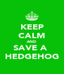 KEEP CALM AND SAVE A  HEDGEHOG - Personalised Poster A4 size