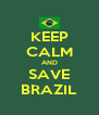 KEEP CALM AND SAVE BRAZIL - Personalised Poster A4 size