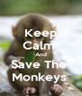 Keep Calm  And Save The  Monkeys  - Personalised Poster A4 size