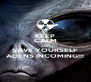 KEEP CALM AND SAVE YOURSELF ALIENS INCOMING!!! - Personalised Poster A4 size