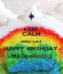 KEEP CALM AND SAY HAPPY BIRTHDAY Mo0oo0oD ;) - Personalised Poster A4 size
