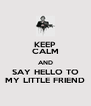 KEEP CALM AND SAY HELLO TO MY LITTLE FRIEND - Personalised Poster A4 size