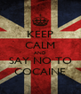 KEEP CALM AND SAY NO TO COCAINE - Personalised Poster A4 size