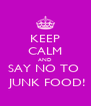 KEEP CALM AND SAY NO TO   JUNK FOOD! - Personalised Poster A4 size