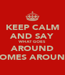 KEEP CALM AND SAY WHAT GOES AROUND COMES AROUND - Personalised Poster A4 size