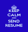 KEEP CALM AND SEND RESUME - Personalised Poster A4 size