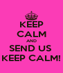 KEEP CALM AND SEND US  KEEP CALM! - Personalised Poster A4 size