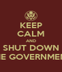 KEEP CALM AND SHUT DOWN THE GOVERNMENT - Personalised Poster A4 size