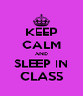 KEEP CALM AND SLEEP IN CLASS - Personalised Poster A4 size