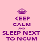 KEEP CALM AND SLEEP NEXT  TO NCUM - Personalised Poster A4 size