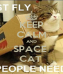 KEEP CALM AND SPACE  CAT  - Personalised Poster A4 size