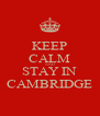 KEEP CALM AND STAY IN CAMBRIDGE - Personalised Poster A4 size