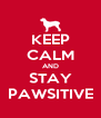 KEEP CALM AND STAY PAWSITIVE - Personalised Poster A4 size