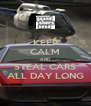 KEEP CALM AND STEAL CARS ALL DAY LONG - Personalised Poster A4 size