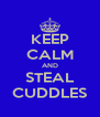KEEP CALM AND STEAL CUDDLES - Personalised Poster A4 size