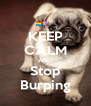 KEEP CALM AND Stop Burping - Personalised Poster A4 size