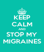 KEEP CALM AND STOP MY MIGRAINES - Personalised Poster A4 size