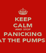 KEEP CALM AND STOP PANICKING AT THE PUMPS! - Personalised Poster A4 size