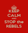 KEEP CALM AND STOP the REBELS - Personalised Poster A4 size
