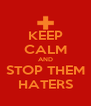 KEEP CALM AND STOP THEM HATERS - Personalised Poster A4 size