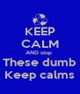 KEEP CALM AND stop  These dumb Keep calms - Personalised Poster A4 size