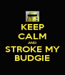 KEEP CALM AND STROKE MY BUDGIE - Personalised Poster A4 size