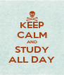 KEEP CALM AND STUDY ALL DAY - Personalised Poster A4 size