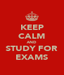 KEEP CALM AND STUDY FOR EXAMS - Personalised Poster A4 size