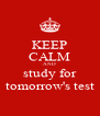 KEEP CALM AND study for tomorrow's test - Personalised Poster A4 size