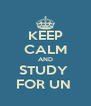 KEEP CALM AND STUDY  FOR UN  - Personalised Poster A4 size