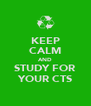KEEP CALM AND STUDY FOR YOUR CTS - Personalised Poster A4 size