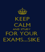 KEEP CALM AND STUDY  FOR YOUR  EXAMS...SIKE  - Personalised Poster A4 size