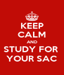 KEEP CALM AND STUDY FOR  YOUR SAC - Personalised Poster A4 size