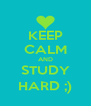 KEEP CALM AND STUDY HARD ;) - Personalised Poster A4 size