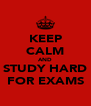 KEEP CALM AND STUDY HARD FOR EXAMS - Personalised Poster A4 size